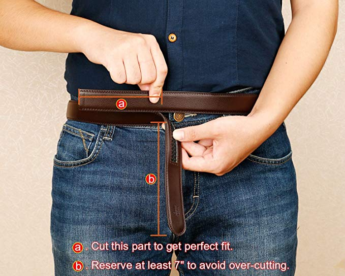 JASGOOD Leather Ratchet Dress Belt for Men Perfect Fit Waist Size up to 50 inches 1.2inch Wide Strap Without Buckle