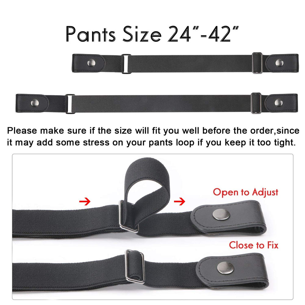 "No Buckle Women/Men Invisible Belt Elastic Waist Belt Up to 48"" for Jeans Pants Dresses - JASGOOD-OFFICIAL"