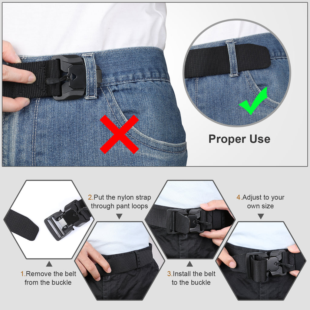 JASGOOD Multifunctional tactical belt with magnetic quick release buckle, men's military belt-nylon rigging belt