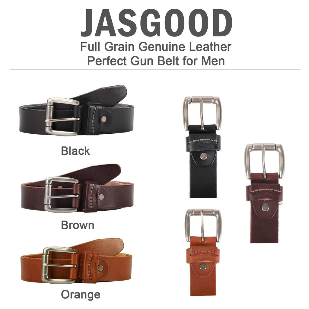 "Leather Gun Belt - Heavy Duty No Break Gun Belt for Concealed Carry CCW Tactical Use - 1.5"" Wide 100% Full Grain Leather by JASGOOD - JASGOOD-OFFICIAL"