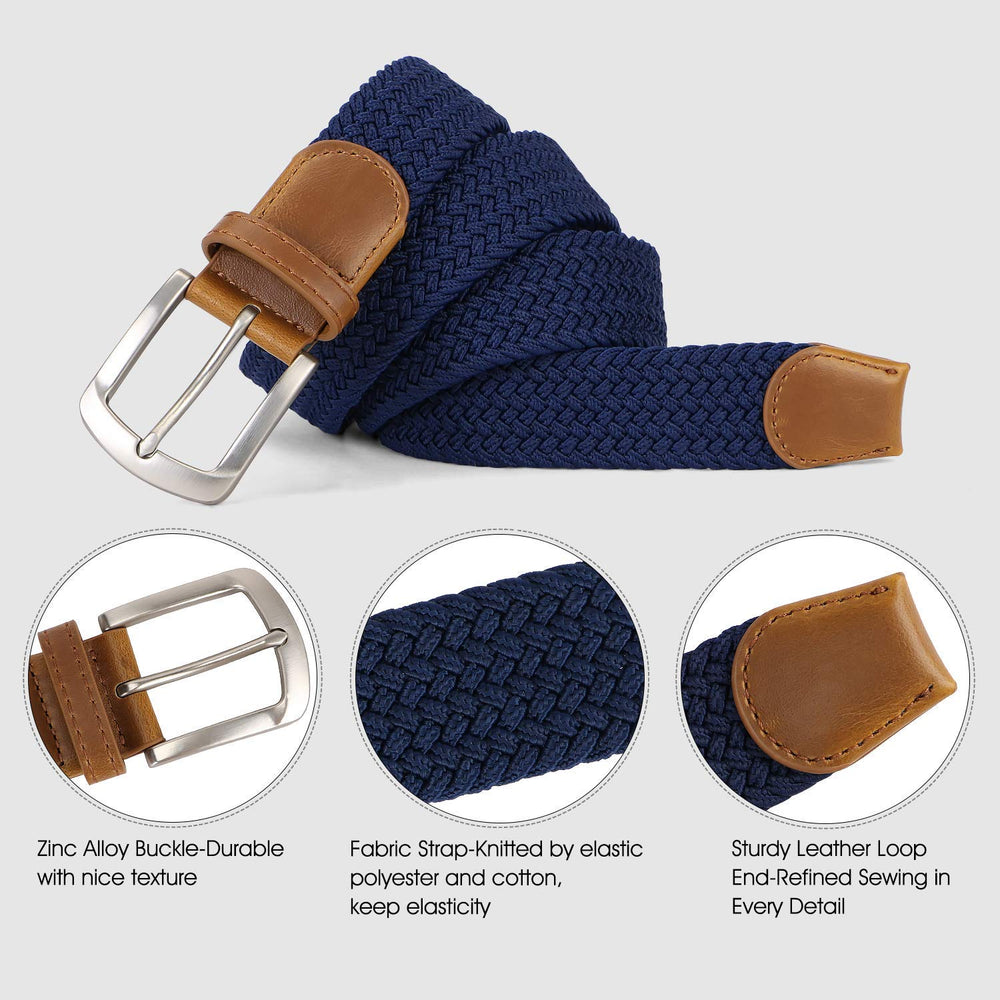 Men Braided Canvas Fabric Belt Woven Elastic Stretch Belts with Pin Buckle for Men 2 pack