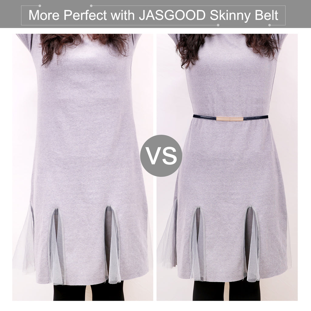 Women's Skinny Blue  Leather Belt Adjustable Slim Waist Belt with Gold Alloy Buckle for Dress By JASGOOD - JASGOOD OFFICIAL