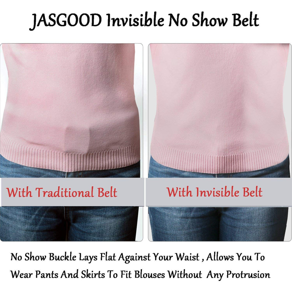 Womens Invisible Belt Comfortable Elastic Adjustable No Show Web Belt Metal Buckle Belt For Men By JASGOOD