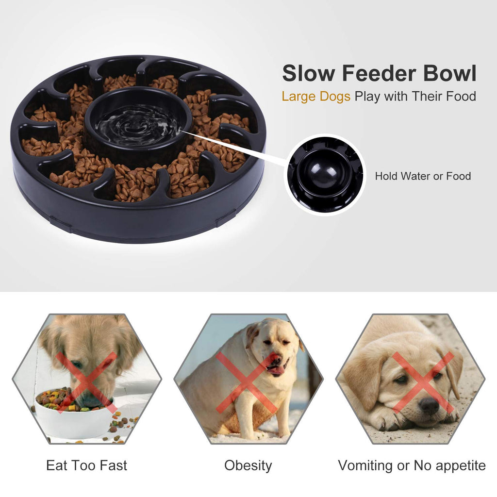 JASGOOD Slow Dog Bowl for Large Dogs,Fun Feeder Dog Bowl,Anti-Gulping Dog Slow Feeder Stop Bloat,Slow Eating Big Pet Bowl