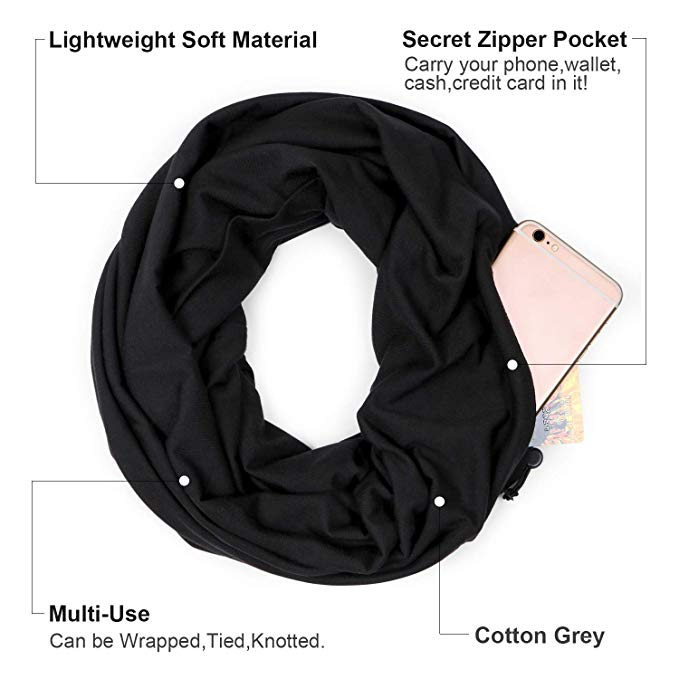 Scarves for Women Infinity Scarf with Zipper Secret Pocket Christmas Gift - JASGOOD-OFFICIAL