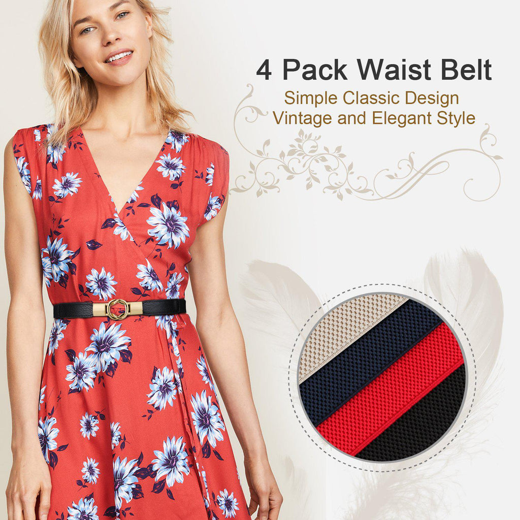 Women Skinny Belt for Dresses Retro Stretch Ladies Waist Belt Plus Size Set of 4 - JASGOOD-OFFICIAL