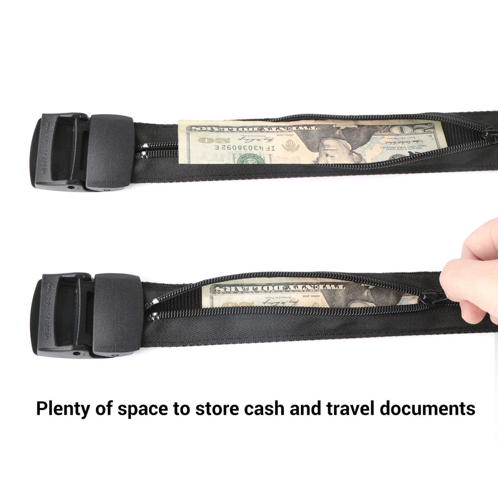 Travel Security Money Belt with Hidden Money Pocket - Cashsafe Anti-Theft Wallet Unisex Nickel free Nylon Belt by JASGOOD - JASGOOD-OFFICIAL