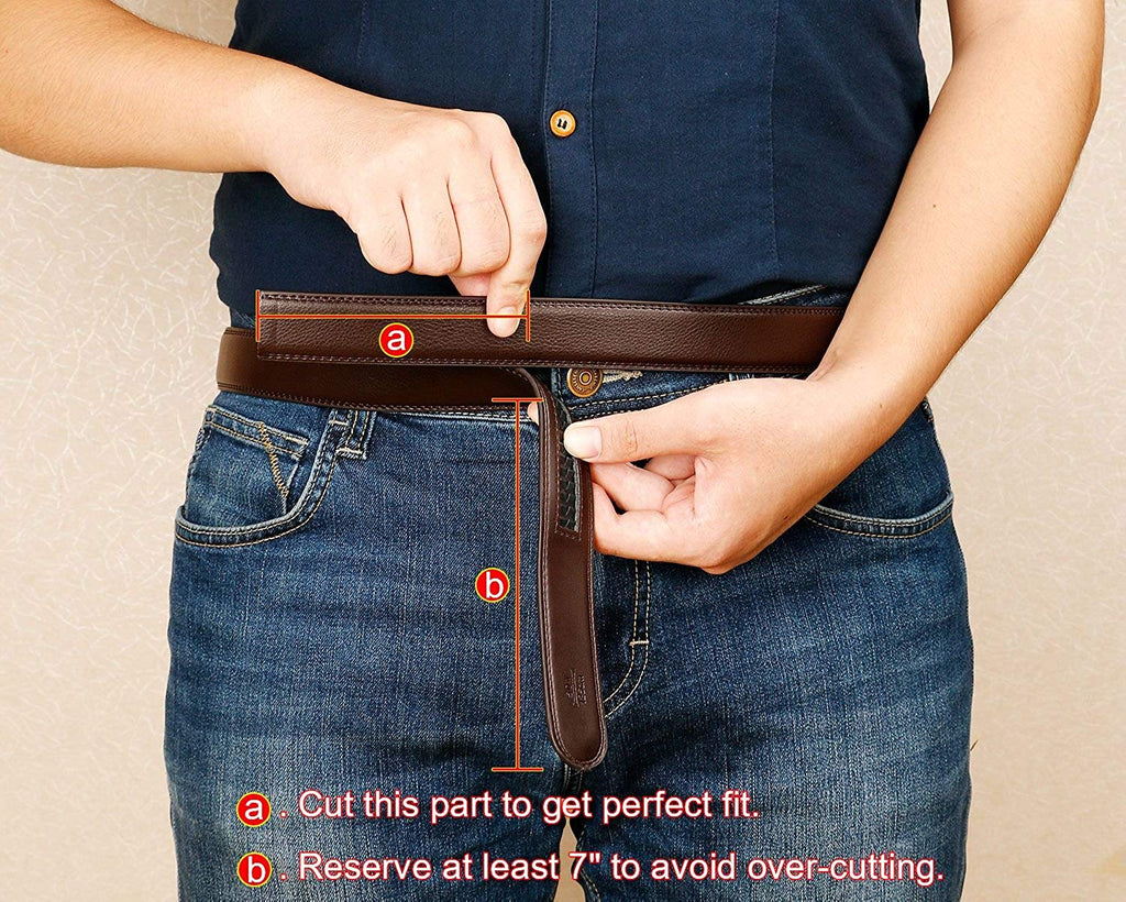 "WERFORU Leather Ratchet Dress Belt for Men Perfect Fit Waist Size Up to 44"" with Automatic Buckle - JASGOOD-OFFICIAL"