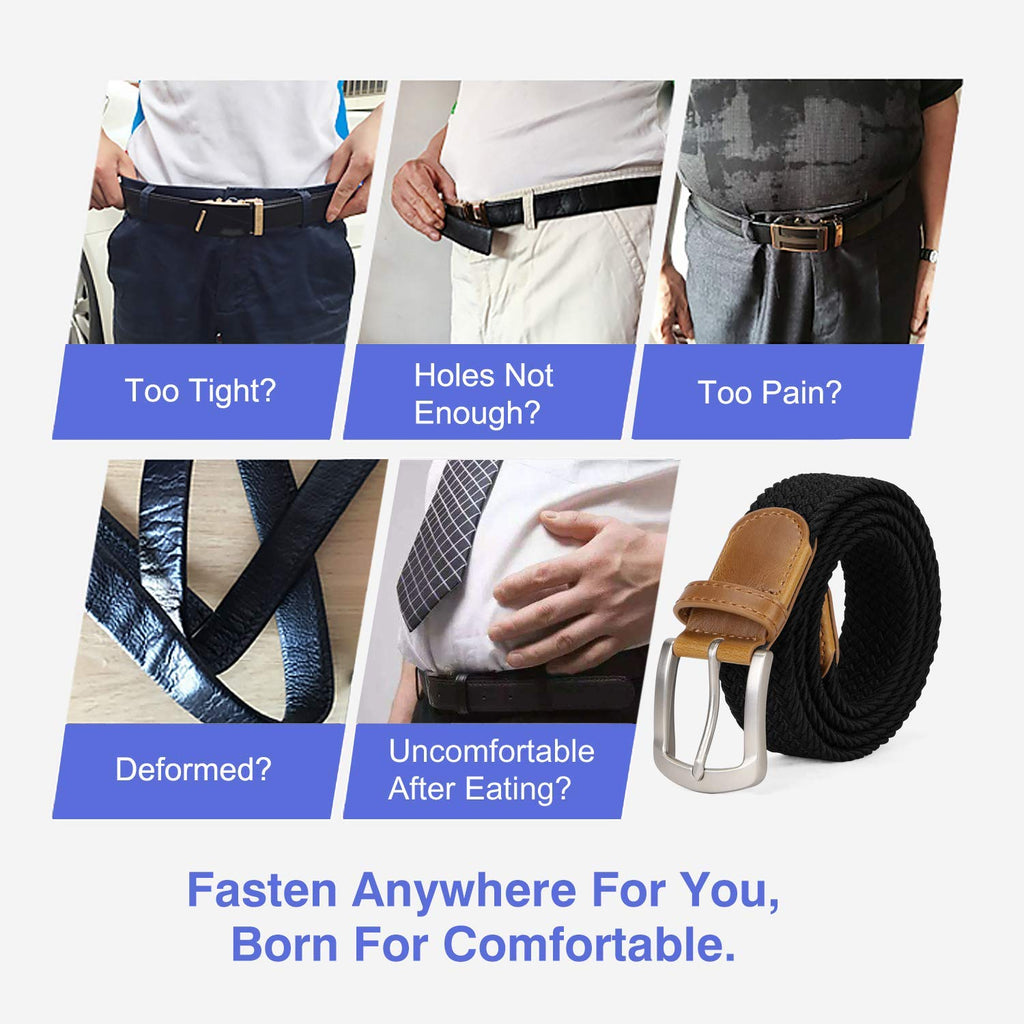 Men Braided Canvas Fabric Belt Woven Elastic Stretch Belts with Pin Buckle for Men 2 pack - JASGOOD-OFFICIAL