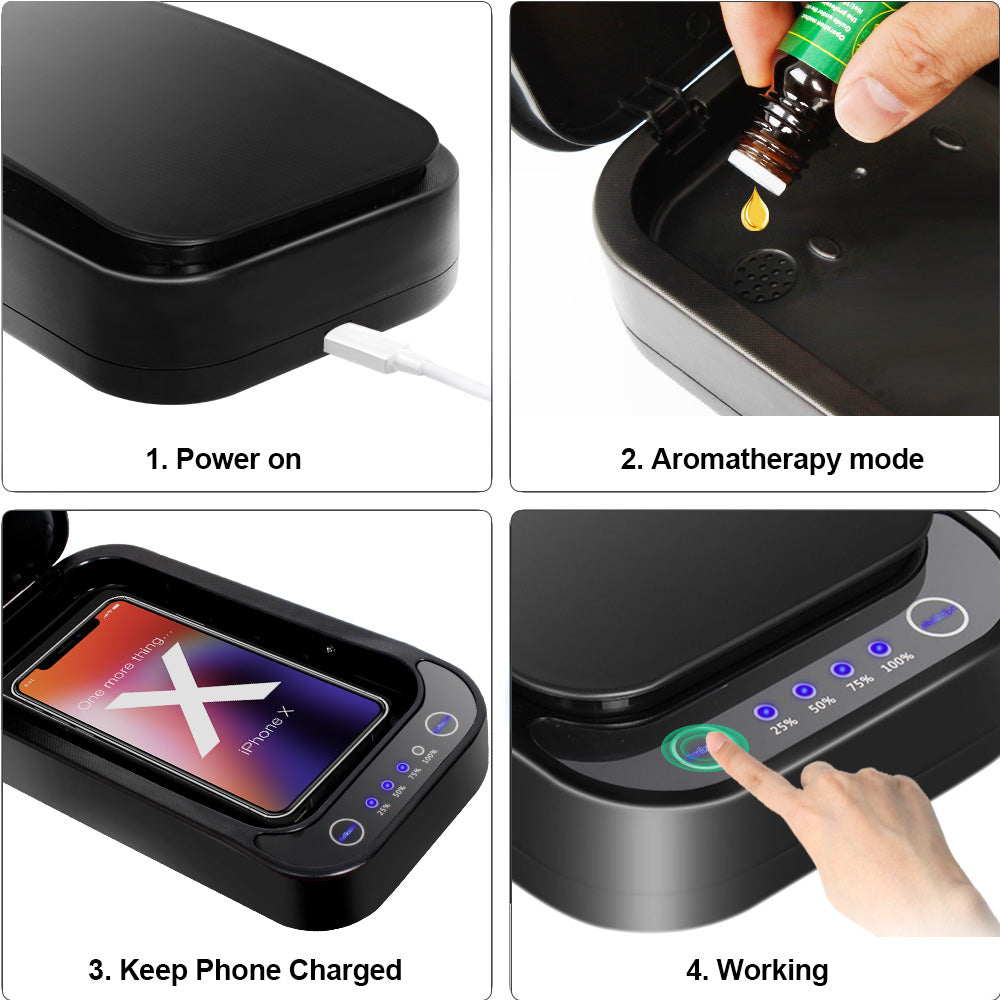 UV Sterilizer Application for Cell Phone,Portable Smart Phone Cleaner Aromatherapy Function Device for All Cellphone Toothbrush Salon Tools Jewelry Watches