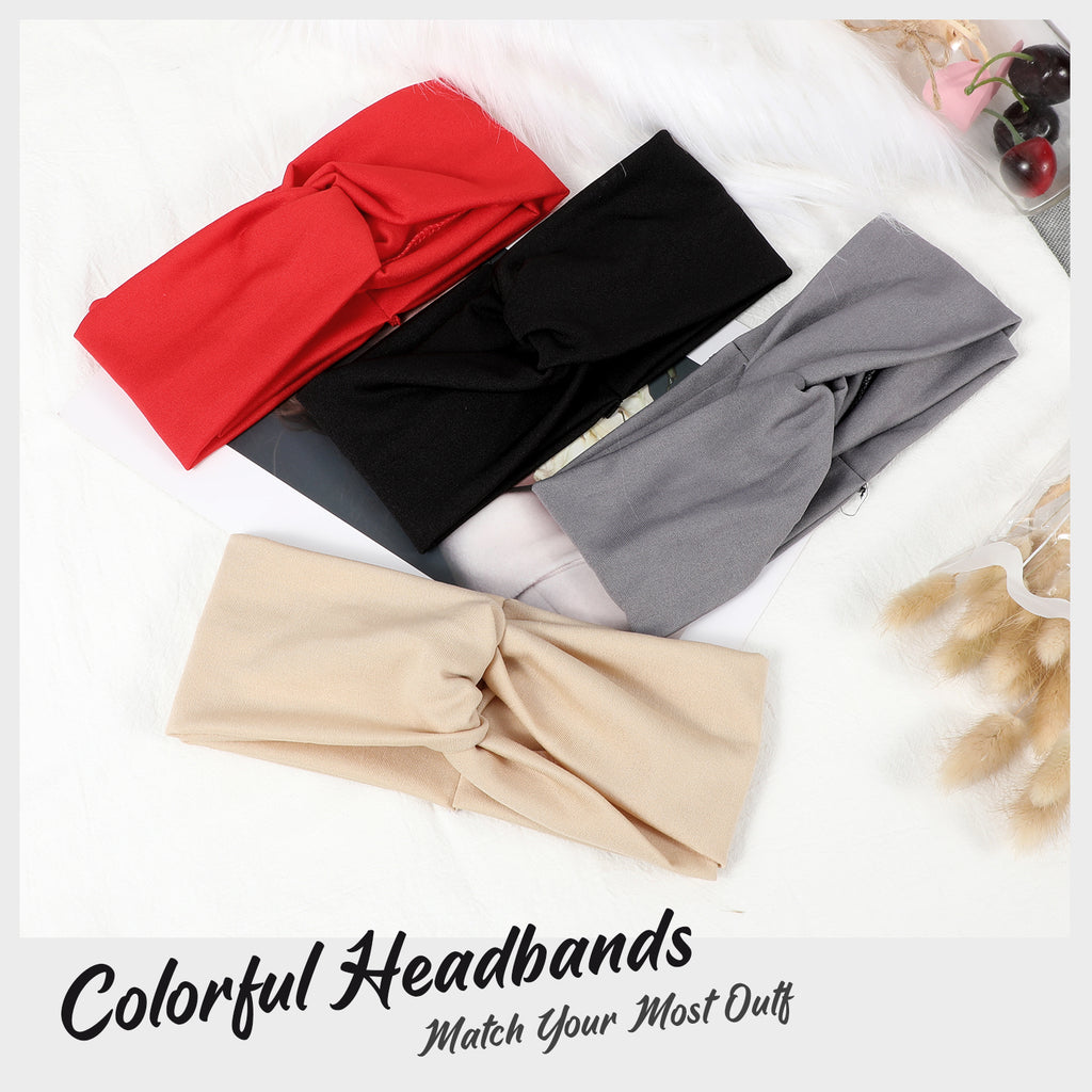 Headbands for Women Twisted Boho Headwrap Yoga Workout Sport Thick Head Bands(2 pack)