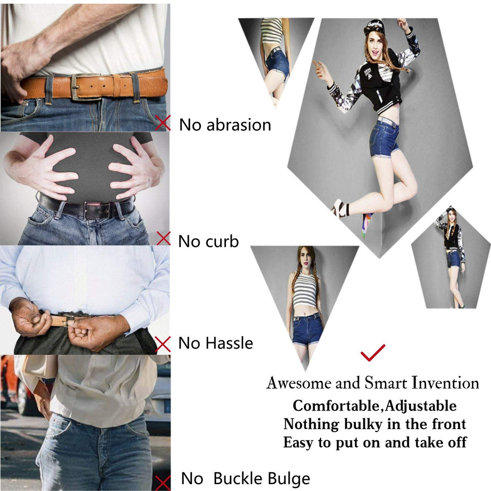 "No Buckle Women/Men Invisible Belt Elastic Waist Belt Up to 48"" for Jeans Pants Dresses"
