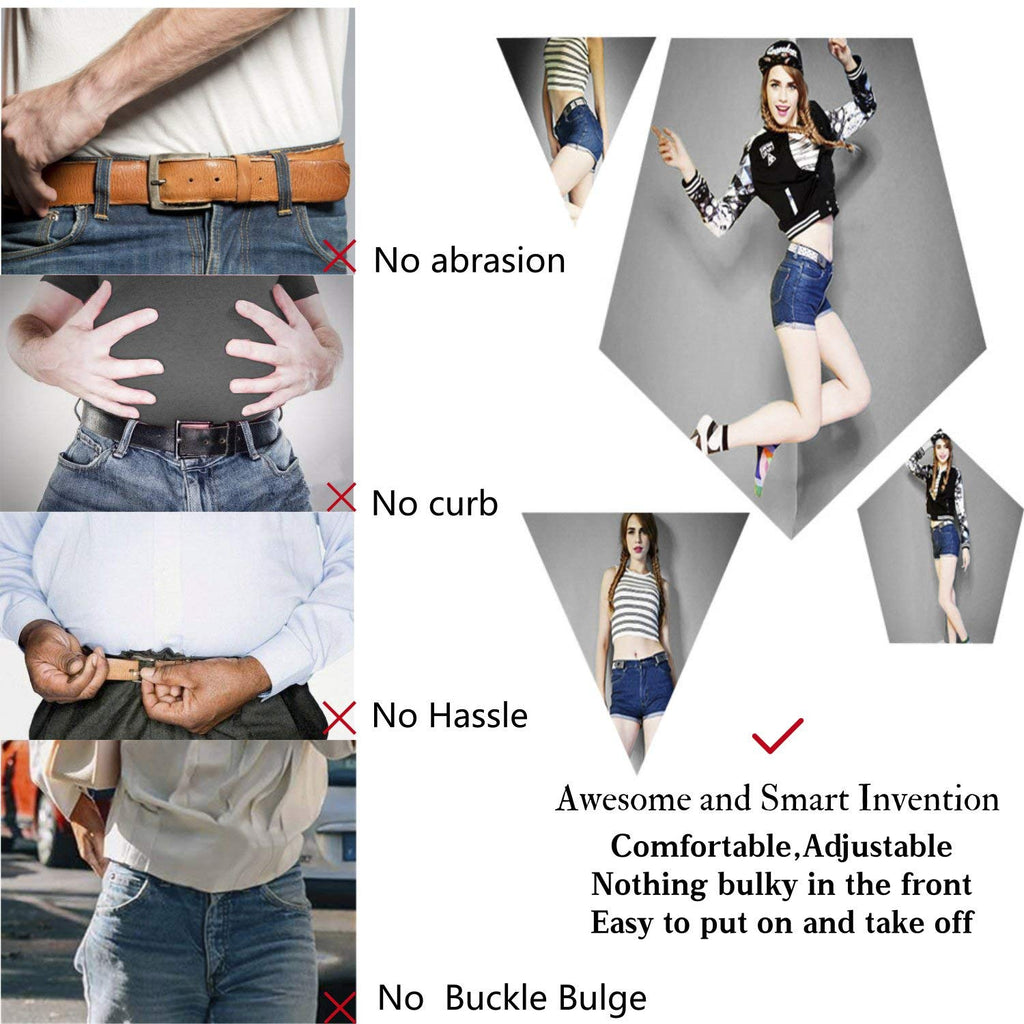 "No Buckle Women/Men Stretch Belt Elastic Waist Belt Up to 48"" for Jeans Pants Dresses - JASGOOD-OFFICIAL"