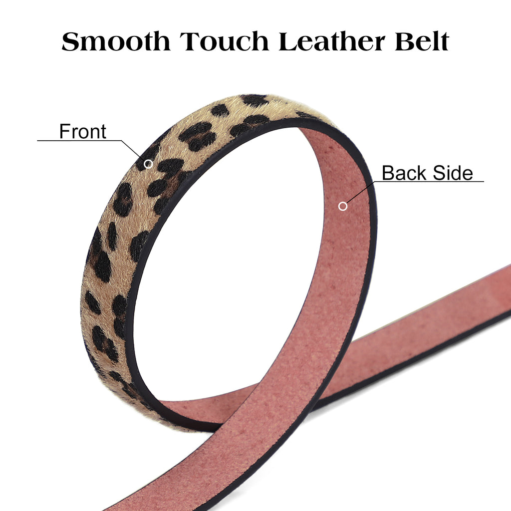 JASGOOD Women Fashion Leather Leopard Print Belt for Jeans Dress Coat-Ladies Leather Belts with Alloy Retro Buckle