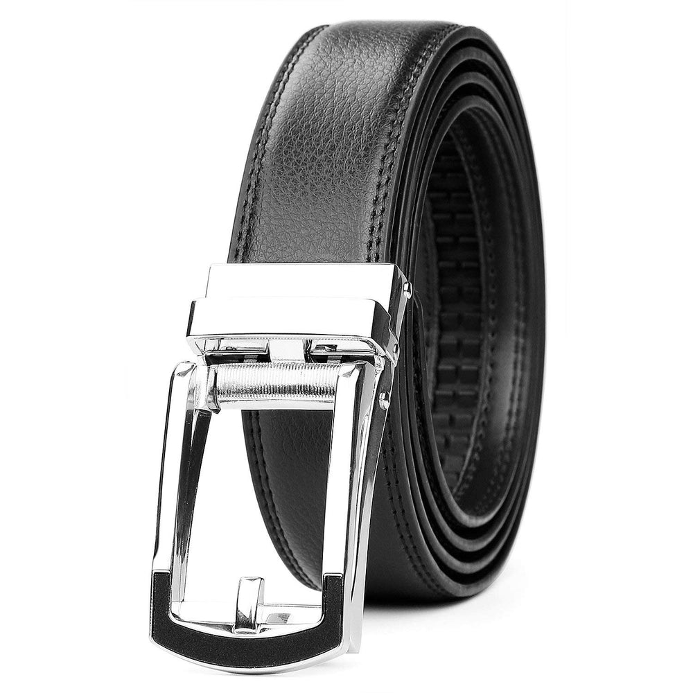 "Leather Ratchet Dress Belt for Men Perfect Fit Waist Size Up to 44"" with Automatic Buckle - JASGOOD-OFFICIAL"