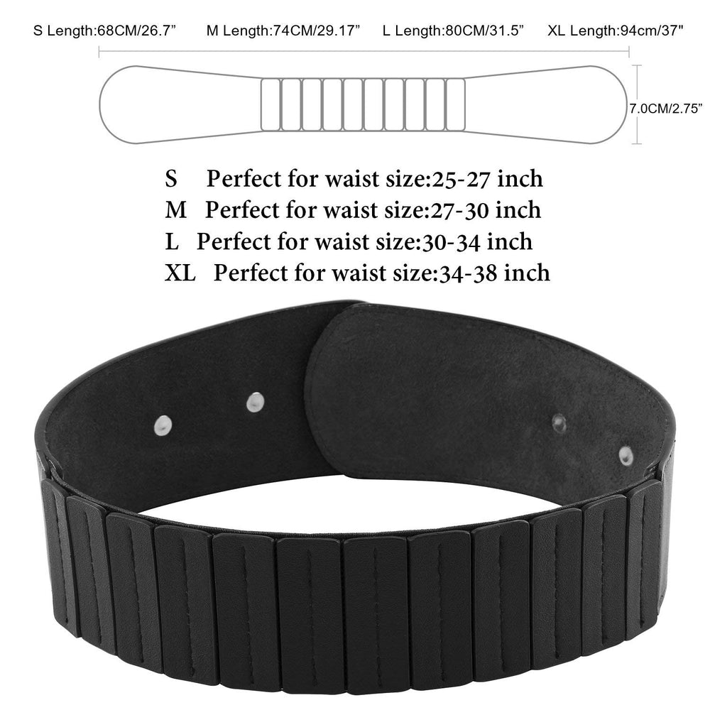 Women's Fashion Vintage Wide Elastic Stretch Waist Belt With Interlock Buckle by JASGOOD