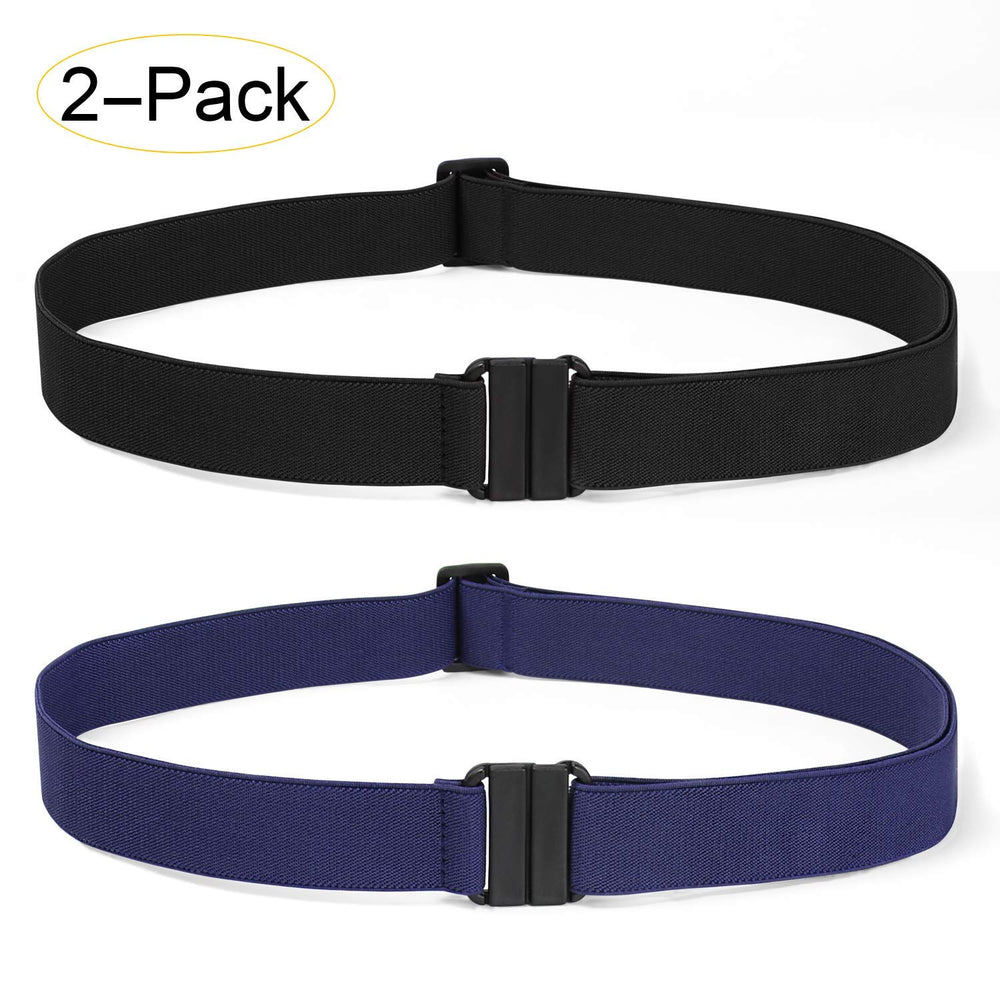 2 Pack Invisible Women Stretch Belt No Show Elastic Web Strap Belt with Flat Buckle for Jeans Pants Dresses - JASGOOD-OFFICIAL