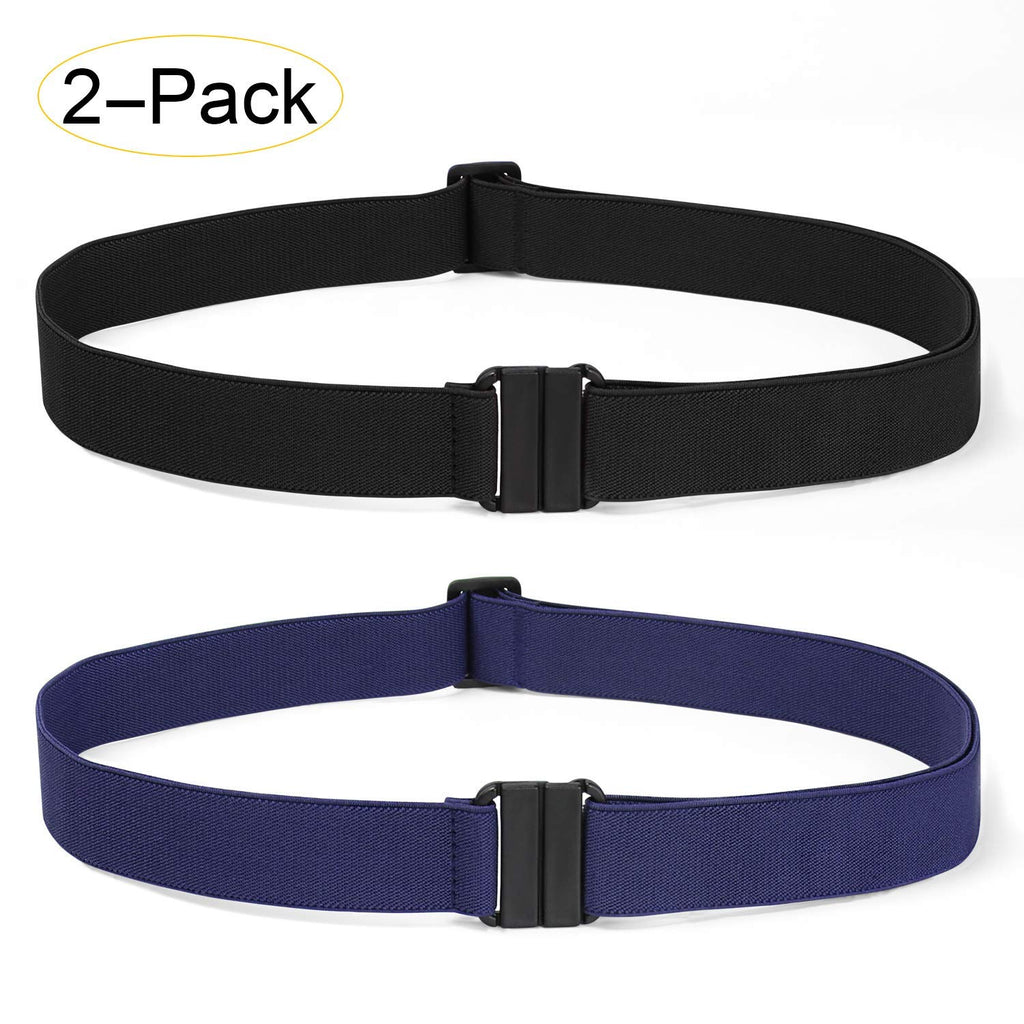 2 Pack Invisible Women Stretch Belt No Show Elastic Web Strap Belt with Flat Buckle for Jeans Pants Dresses-JASGOOD OFFICIAL