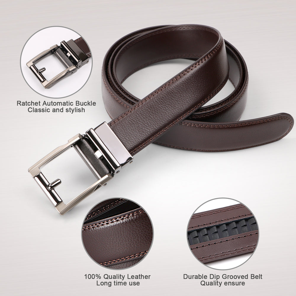 ASGOOD Men's Genuine Leather Ratchet Dress Belt for men with Automatic Buckle