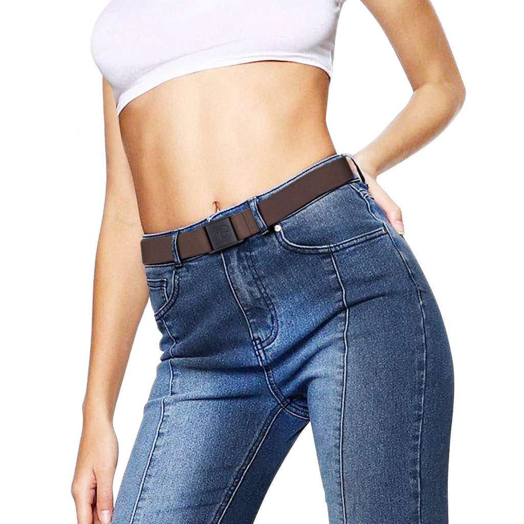 No Show Stretch Belt for Women Elastic Belt with Flat Buckle for Jeans Pants