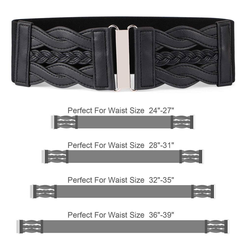 Women Stretchy Vintage Dress Belt Elastic Retro Wide Waist Cinch Belt by JASGOOD