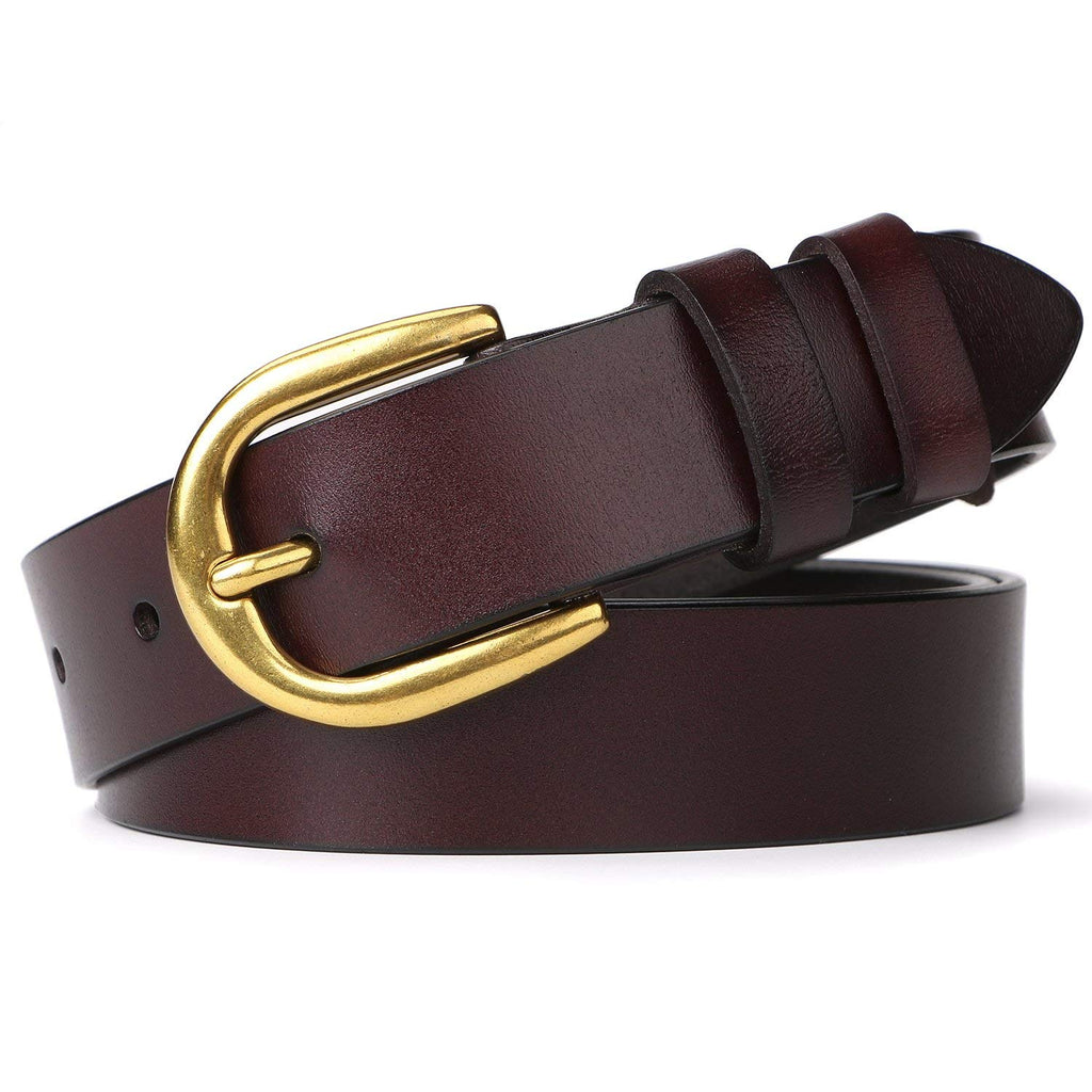 Whippy Women Casual Leather Belt for Jeans, 1.2 Inch Wide with Golden Buckle - JASGOOD-OFFICIAL