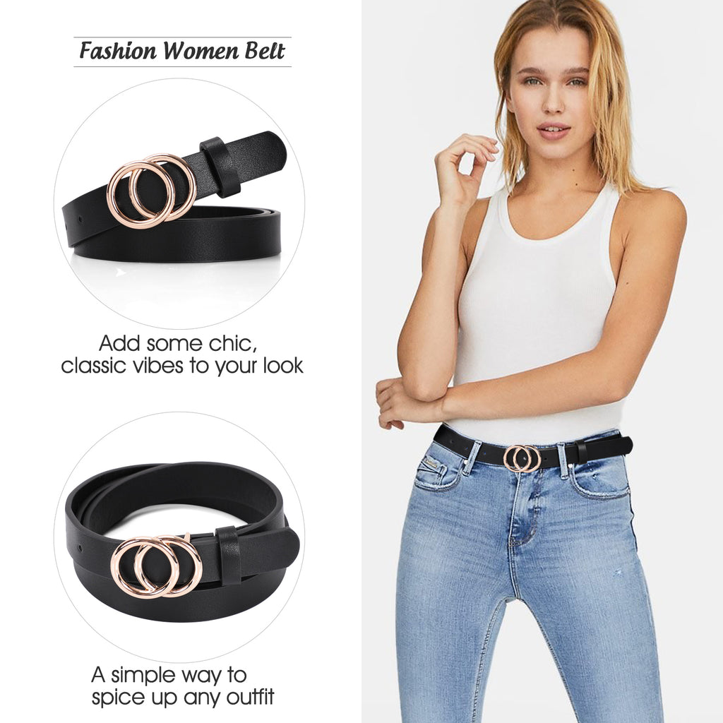 Women's Leather Skinny Belts for Dress Jeans Pants Fashion Soft Leather Waist Belts with Double O-Ring Buckle - JASGOOD-OFFICIAL