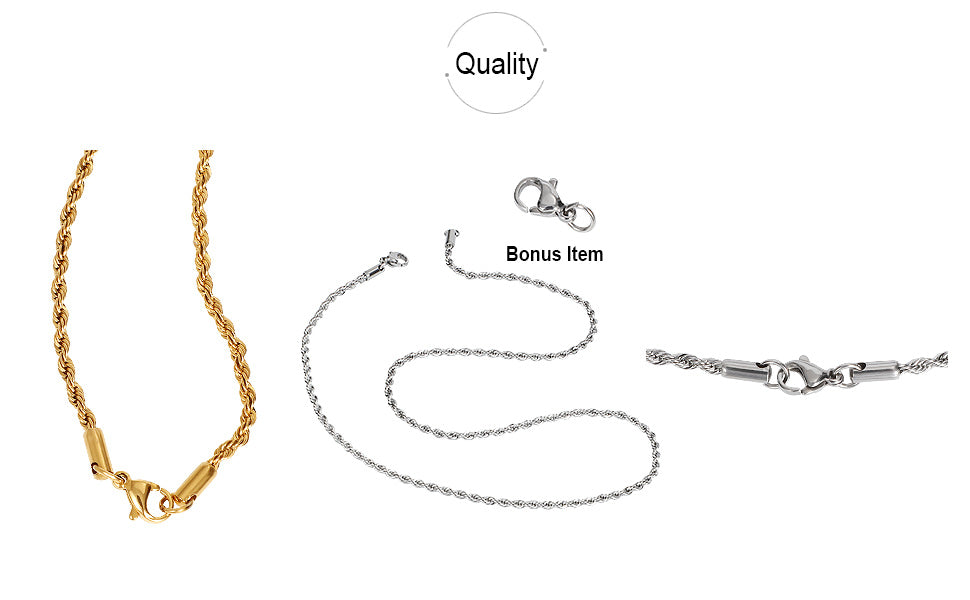 Rope Chain Necklace Gold Plated for Men Women Teen