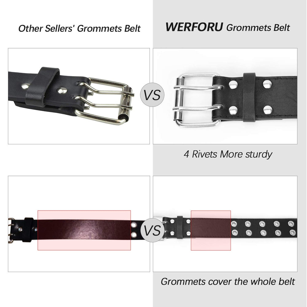 Double Grommet Belt PU Leather Double Prong Belt Buckle for Women Men Jeans By JASGOOD