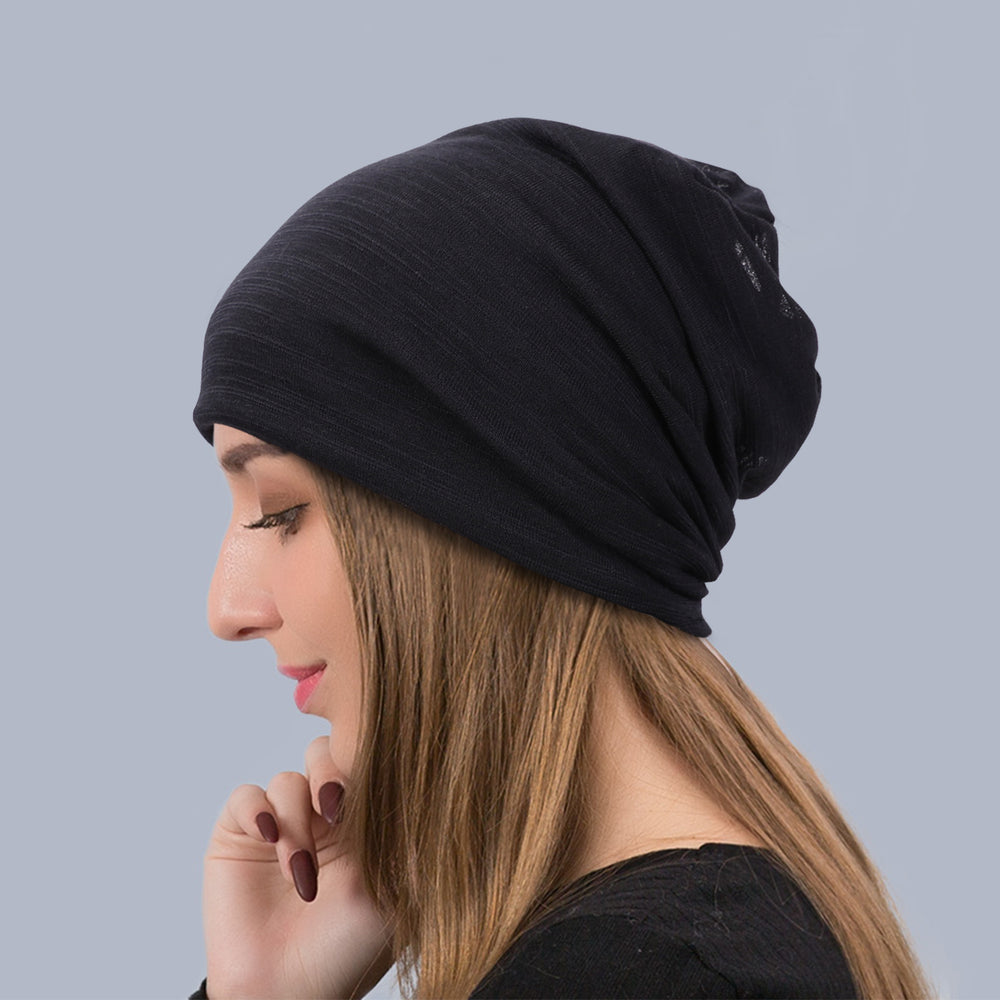 JASGOOD Fashion Soft Cotton Beanie Hat Sleep Cap for Women and Men Headwraps Fashion Slouchy Knit Beanie Sleeping Cap