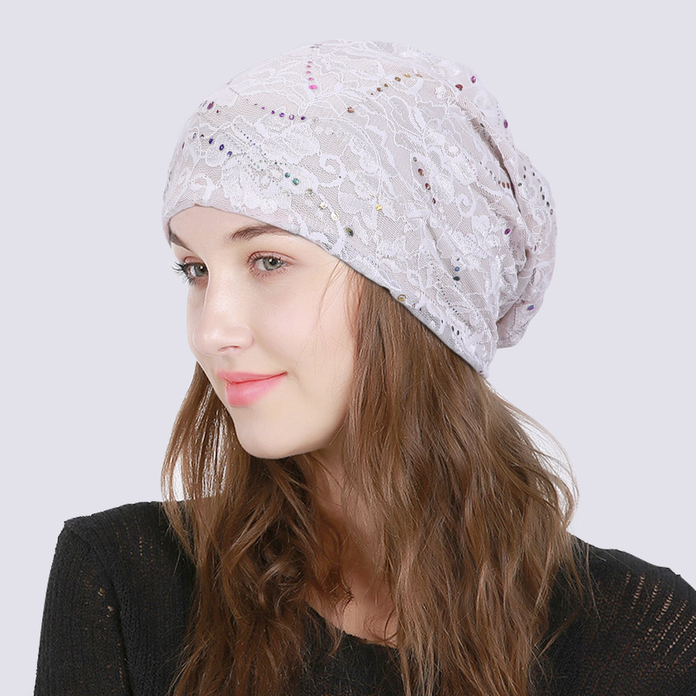 Fashion Women Beanie Hat Head Wrap Slouchy Beanie Cap for Women Cotton Sleep Cap-JASGOOD OFFICIAL