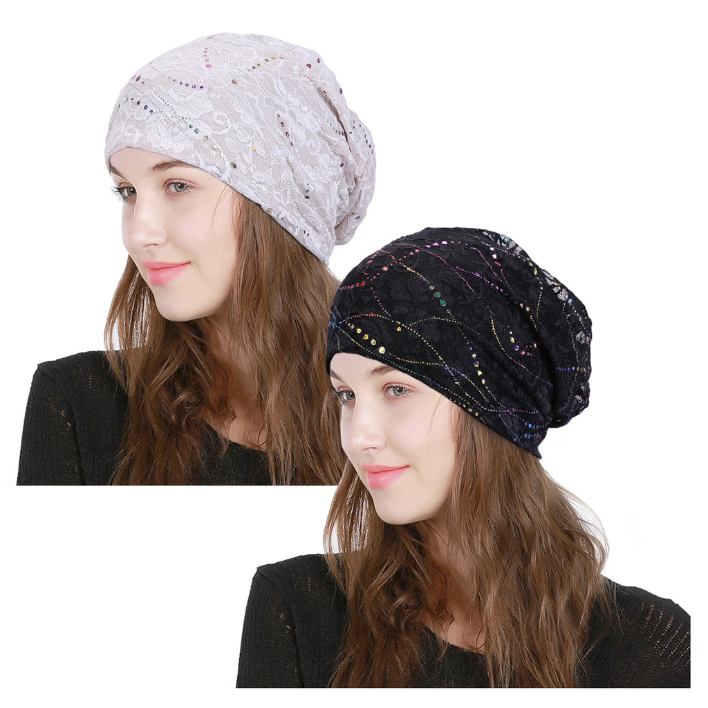 Fashion Women Beanie Hat Head Wrap Slouchy Beanie Cap for Women Cotton Sleep Cap - JASGOOD-OFFICIAL