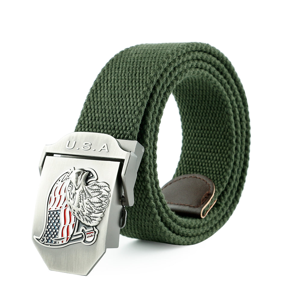 Men Canvas Web Belt Outdoor Military Style Tactical Nylon Belt with Zinc Alloy Buckle By JASGOOD