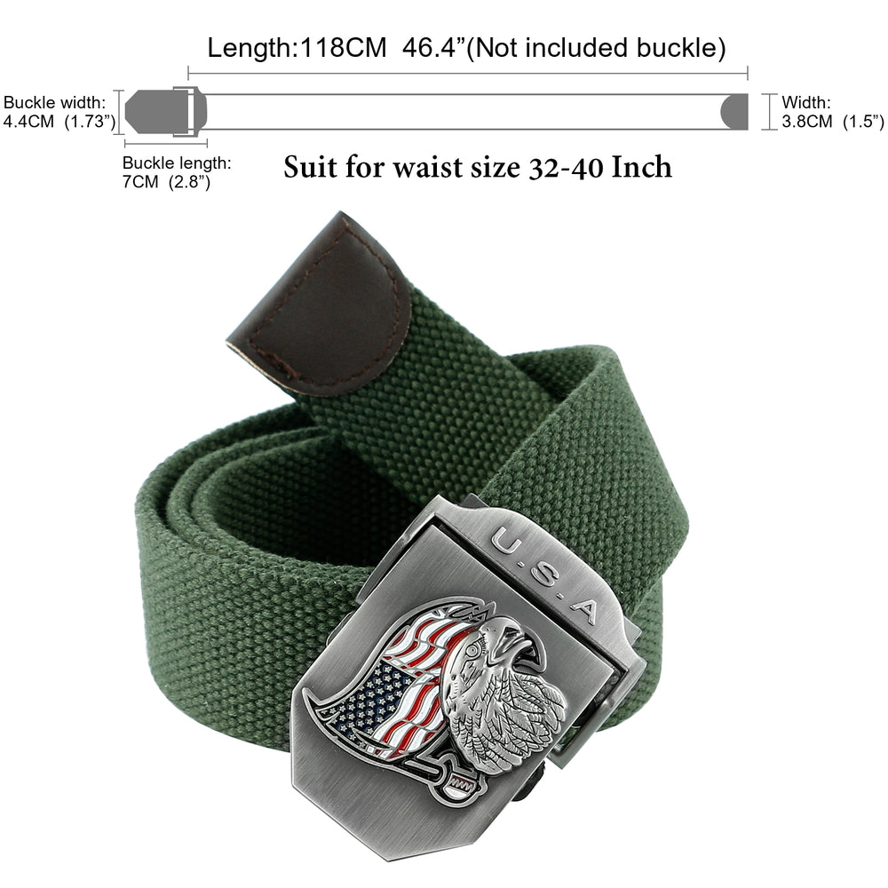 Men Canvas Web Belt Outdoor Militay Style Tactical Nylon Belt with Zinc Alloy Buckle By JASGOOD-JASGOOD OFFICIAL