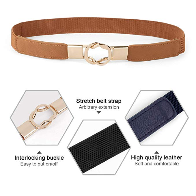 Women Retro Elastic Stretchy Metal Buckle Skinny Waist Cinch Belt 1Inch Wide JASGOOD