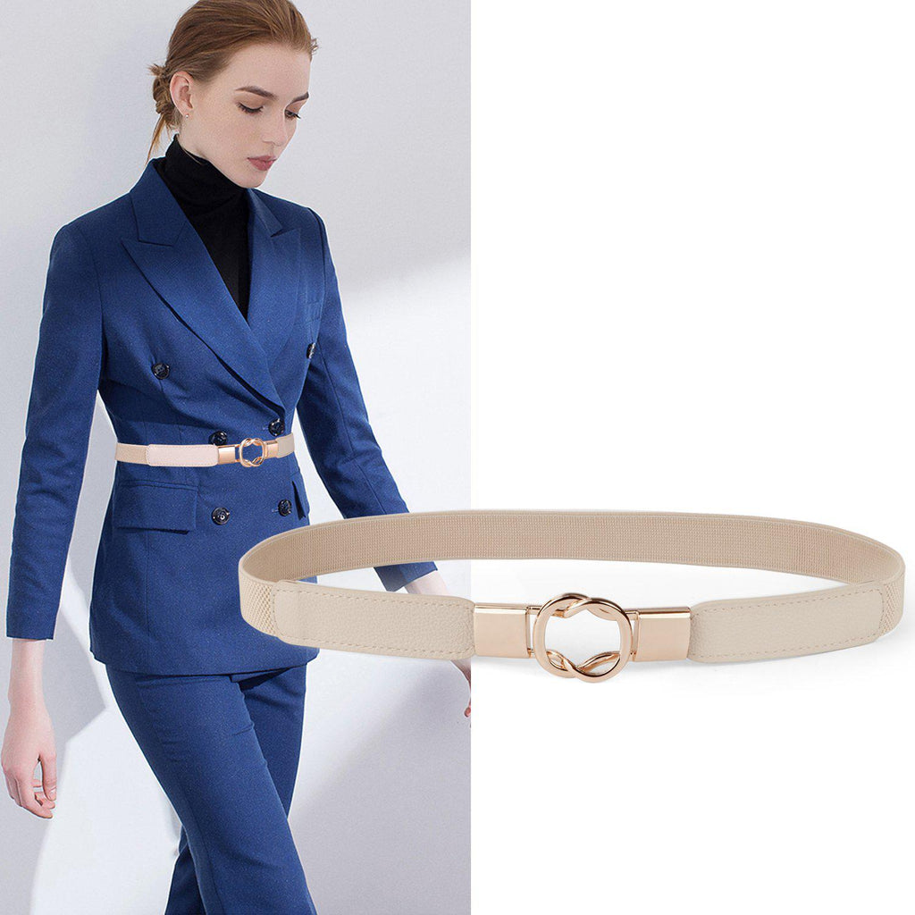 Women Retro Elastic Stretchy Metal Buckle Skinny Waist Cinch Belt 1Inch Wide JASGOOD-JASGOOD OFFICIAL
