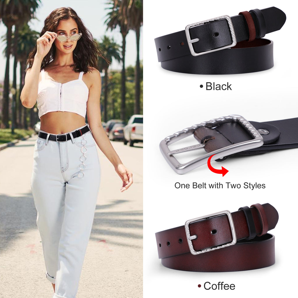 Reversible Leather Belt for Women, Ladies Belt for Jeans Pants with Solid Pin Buckle by JASGOOD - JASGOOD-OFFICIAL