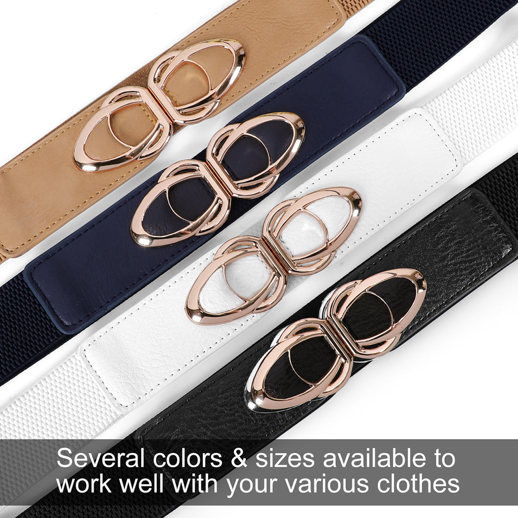 JASGOOD Retro Elastic Belts for Women,Ladies Stretch 1.5Inch Wide,Cute Belts for Dress with Gold Buckle - JASGOOD-OFFICIAL