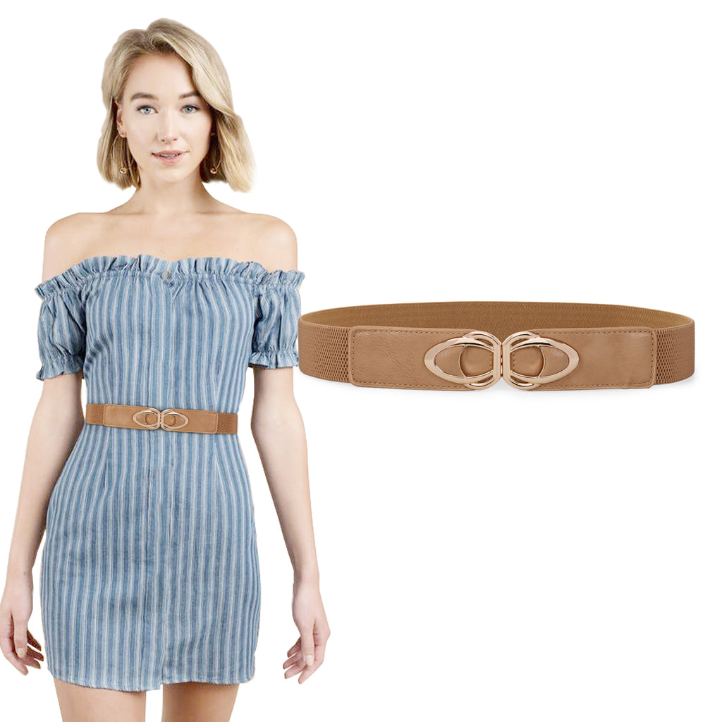 JASGOOD Retro Elastic Belts for Women,Ladies Stretch 1.5Inch Wide,Cute Belts for Dress with Gold Buckle