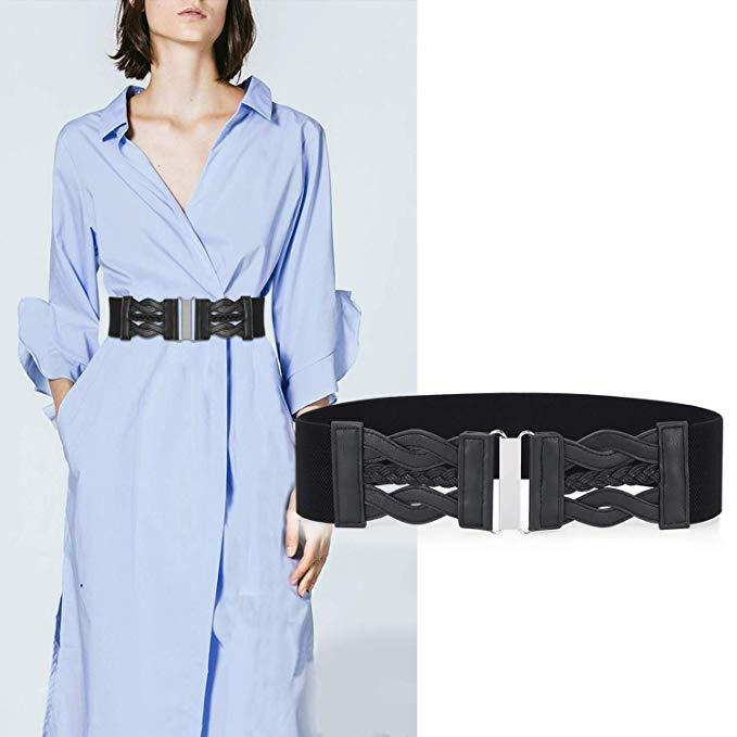 Women Elastic Stretchy Retro Wide Waist Cinch Belt 50s Vintage Ladies Dress Plus Size Belt By JASGOOD - JASGOOD-OFFICIAL