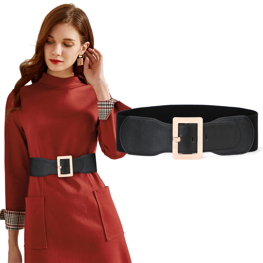 Women Dress Waist Cinch Belt Stretchy Elastic Vintage Belts For Dress With Metal Buckle In 7.5cm by JASGOOD - JASGOOD-OFFICIAL