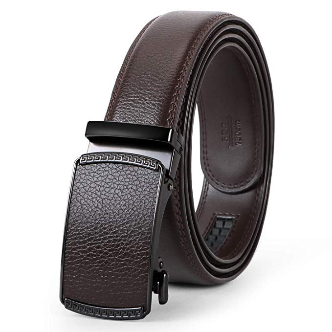 Men's Leather Belt, Ratchet Dress Belt with Automatic Buckle in Gift Box by JASGOOD