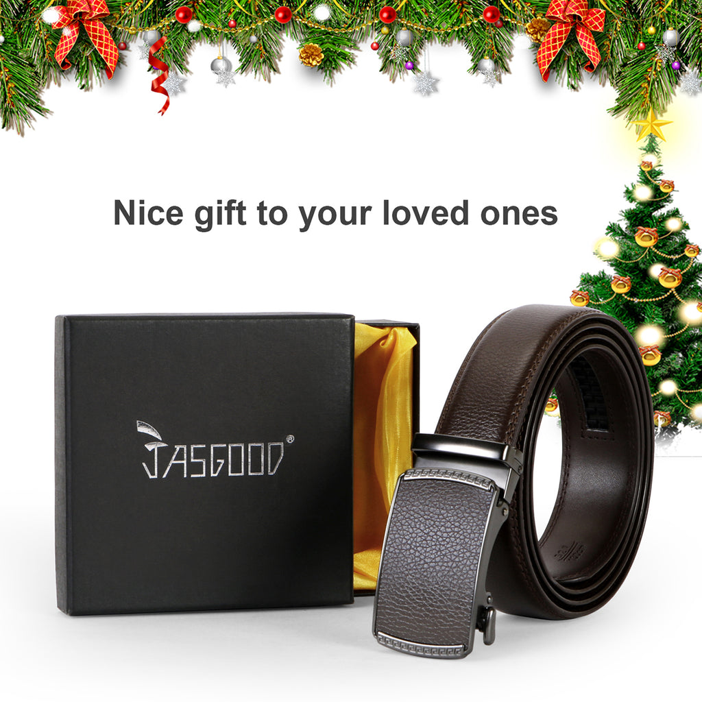 JASGOOD Men Leather Belt Ratchet Dress Belt with Automatic Buckle + High Quality Leather with Nice Gift Box Perfect Gift for Men