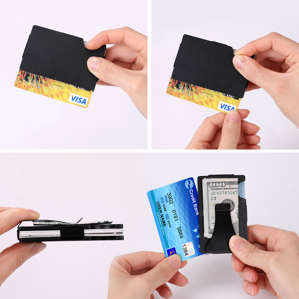 RFID Blocking Minimalist Carbon Fiber Wallet for Men, Metal Slim Money Clip Pocket Passport Holder for Women