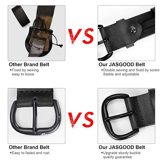 JASGOOD Women's Leather Jeans Belt Waist Casual Belt for Pants Shorts with Black Metal Buckle