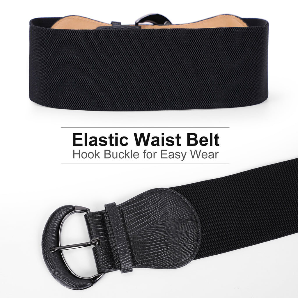 JASGOOD Women Stretchy Wide Waist Belt for Dress Ladies Elastic Belt Hook Buckle