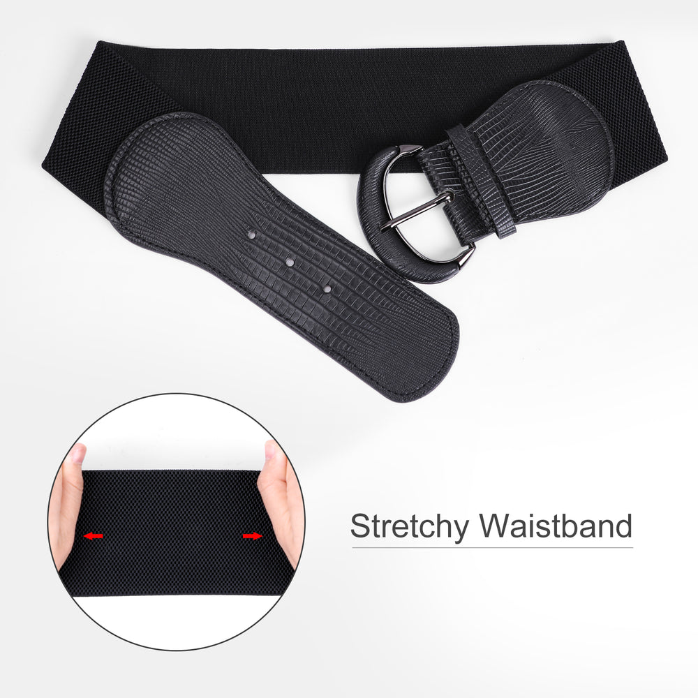 JASGOOD Women Stretchy Wide Waist Belt for Dress Ladies Elastic Belt Hook Buckle - JASGOOD-OFFICIAL