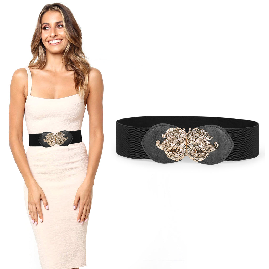 JASGOOD Women Vintage Elastic Belt,Stretch Dress Waistband for Ladies,Cute Waist Belt with Gold Leaf Buckle,2.3Inch Wide