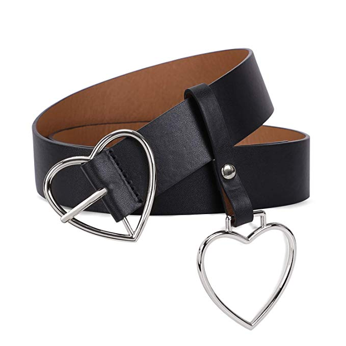 Women Heart-shaped Belt Wide PU Leather Belt Metal Buckle for Women Girls Students Halloween Costume