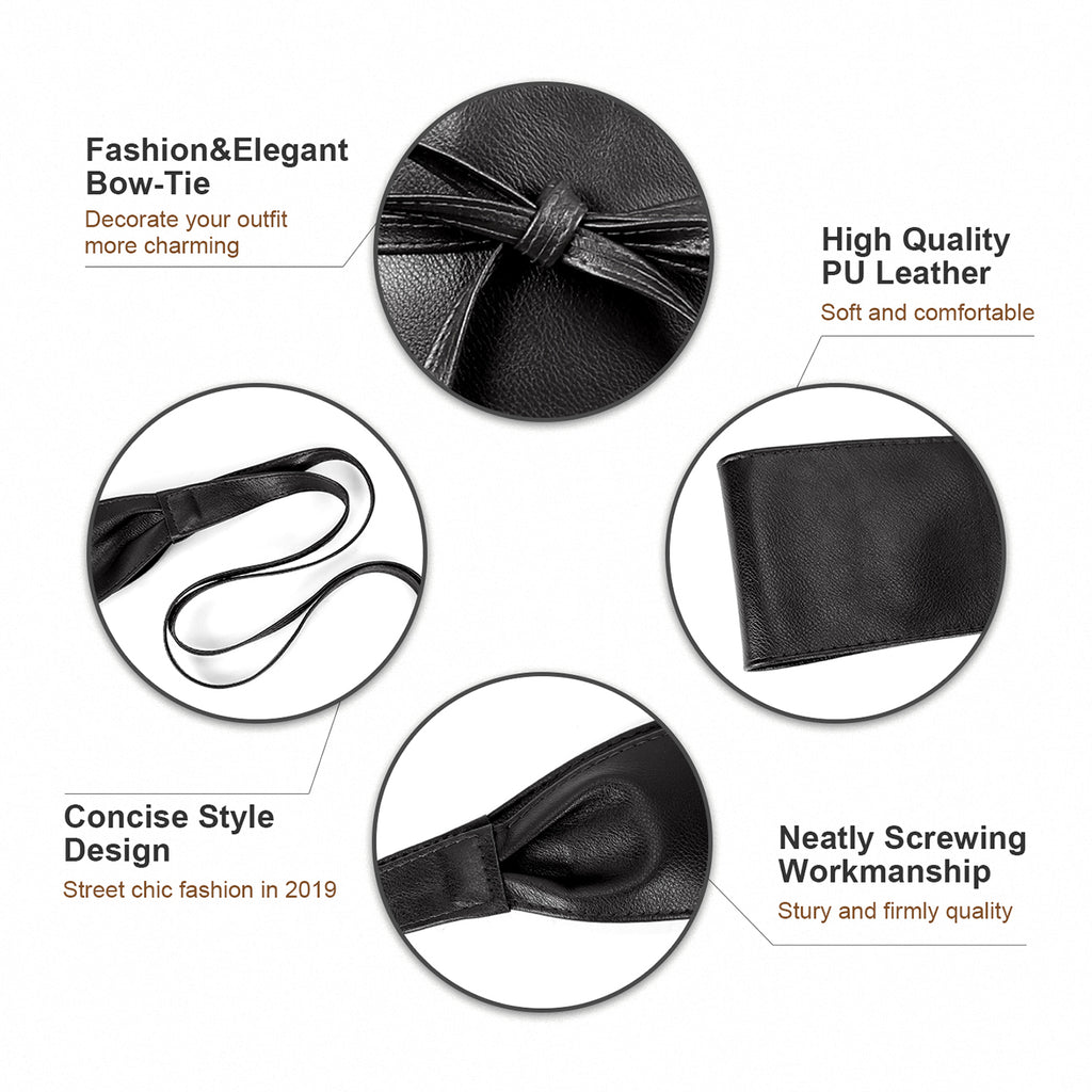 Women Faux Leather Obi Belt, JASGOOD Wide Self Tie Wrap Fashion Belt for Dress Halloween Costume - JASGOOD-OFFICIAL